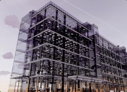 immeuble transparent avec plusieurs étages