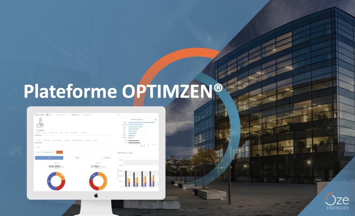 bâtiment tertiaire avec un visuel de la plateforme OPTIMZEN